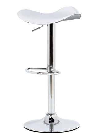 Barová stolička White PVC, chromed base with gas lift AUB-440 WT