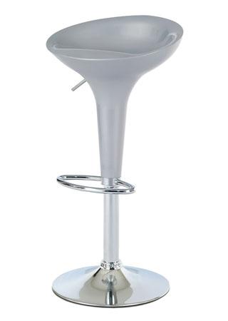 Barová stolička, plast strieborný/chróm AUB-9002 SIL