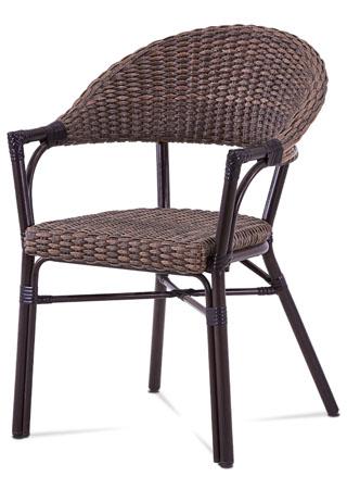 Záhradná stolička, hnedý kov, hnedý ratan AZC-120 BR