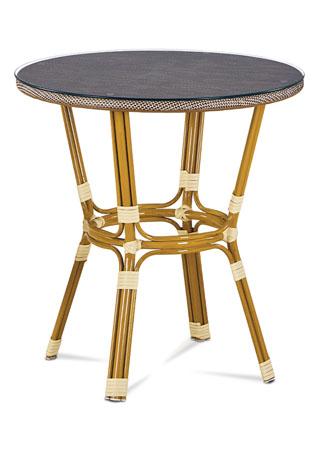 Záhradný stôl, kov zlatý, látka cappuccino AZT-101 CAP