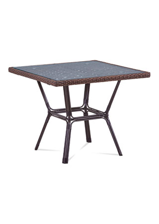 Záhradný stôl, kov hnedý, umelý ratan hnedý AZT-121 BR