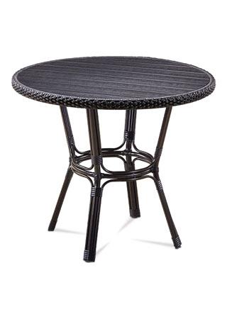 Záhradný stôl, kov hnedý, umelý ratan čierny, polywood čierny AZT-131 BK