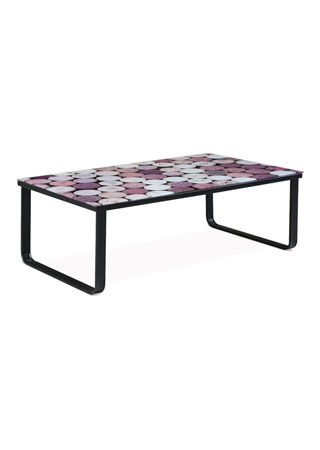 Konferenčný stolík 105x55x32, 6mm sklo s potlačou korok/čierna CT-1010 CORK