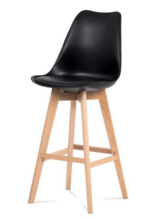 Barová stolička plast, sedák čierna ekokoža/nohy masív prírodný buk CTB-801 BK