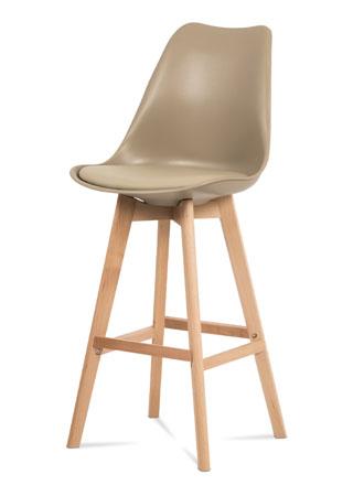 Barová stolička plast, sedák kapučíno ekokoža/nohy masív prírodný buk CTB-801 CAP - NA SKLADE!