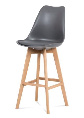 Barová stolička plast, sedák šedá ekokoža/nohy masív prírodný buk CTB-801 GREY