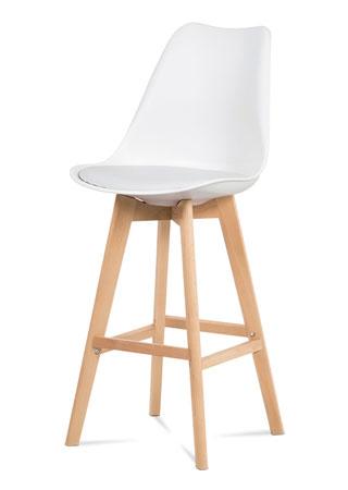 Barová stolička plast, sedák biela ekokoža/nohy masív prírodný buk CTB-801 WT