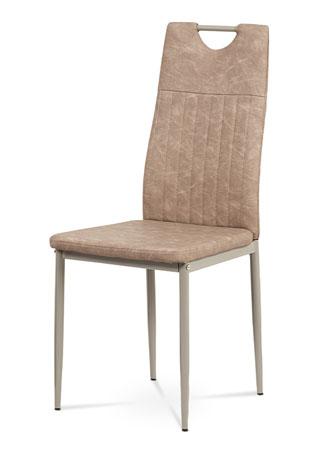 Jedálenská stolička, lanýžová ekokoža, kov cappuccino lesk DCL-460 LAN3