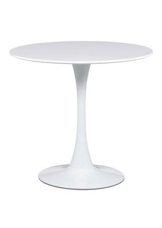 Jedálenský stôl, pr.80x73 cm, biela matná MDF, kov biely vysoký lesk DT-580 WT