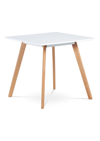 Jedálenský stôl,80x80 cm, biela matná MDF, masiv buk DT-606 WT