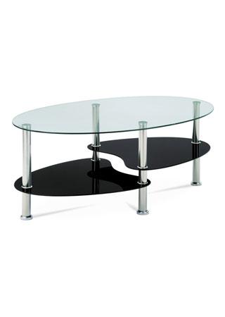 Konferenčný stolík 100x60x41cm, sklo číre/čierne, nerez GCT-302 GBK1