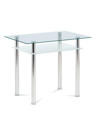 Jedálenský stôl 90x60x75cm, sklo číre, chróm GDT-111 CLR