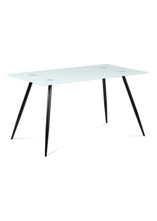 Jedálenský stôl 140x80x75cm mliečne sklo/nohy čierny lak GDT-113 WT