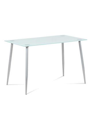 Jedálenský stôl 120x80x75 cmsklo biele, sivá GDT-115 WT
