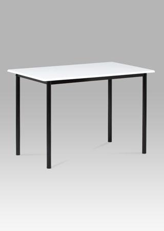 Jedálenský stôl 110 x 70cm, vysoký lesk biely, čierny lak GDT-222 WT