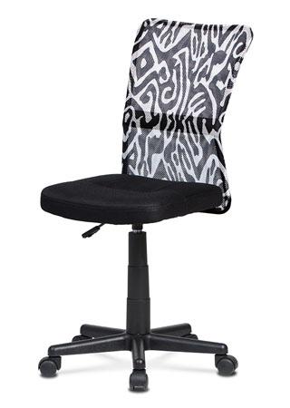 Kancelárska stolička, čierna mesh, plastový kríž, sieťovina motív KA-2325 BKW
