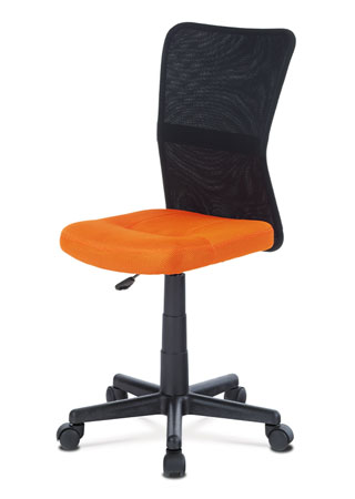 Kancelárska stolička, oranžová mesh, plastový kríž, sieťovina čierna KA-2325 ORA
