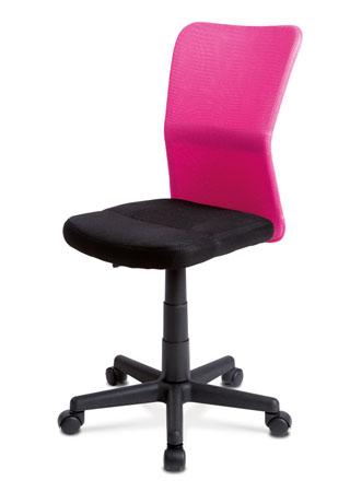 Kancelárska stolička, látka čierna / ružová KA-BORIS PINK