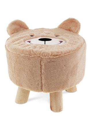 Taburet -  medvěd, béžová látka,  dřevěné nohy LA2000-BROWN