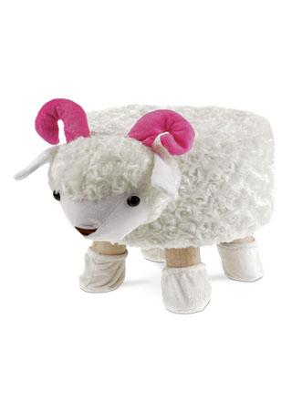 Taburet -  ovce, hnědá látka,  dřevěné nohy LA2002