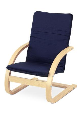 Detské relaxačné kreslo, látka modrá / prírodné drevo QR-06 BLUE