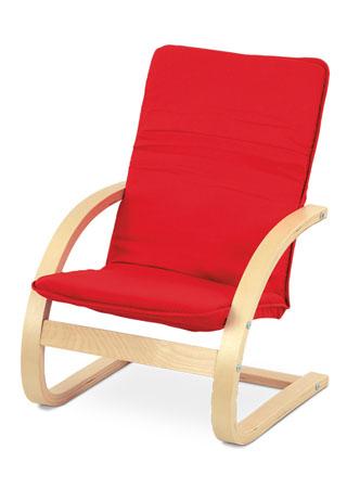 Detské relax. kreslo, látka červená / prírodné drevo QR-06 RED