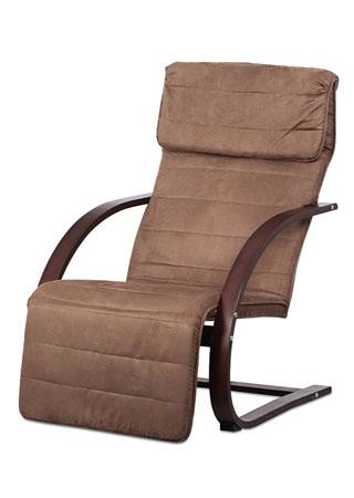 Relax kreslo s výklopnou podnožou, hnedé drevo, látka hnedá QR-31 BR