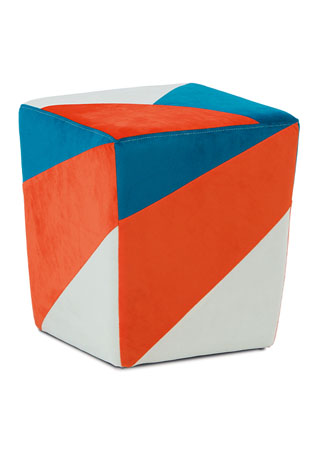 Taburet oranžová / modrá / krémová TAB-107 ORA2