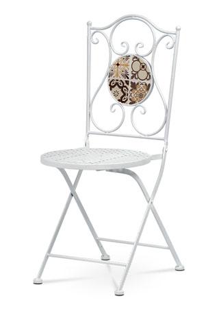 Stolička kovová s mozaikou, biely kov US1001